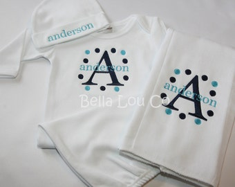 3 Piece Set - Baby Gown/Layette, Beanie, and Burp Cloth with Initial, Name, and Dots