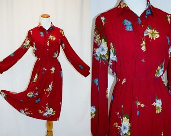 1990's Wine  Floral Dress Red Small Medium Chiffon Like Vintage Retro 90s  Pleated Shirt Waist Ruffled Hipster Asian