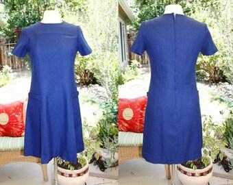 1960's/70's Royal Blue A-Line Dress Short Sleeves Size Size 12 Small Medium Vintage Retro 60's/70's Office Secretary Cobbs Corner Hipster