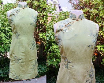 1990's Light Green Asian Wiggle Dress Chinese Embellished Leaf Small Medium Vintage Retro 90s Cheongsam Qipao Gold Sequins Embroidered