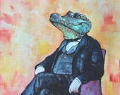 Herbert the Alligator / Crocodile - original watercolor illustration - 8 x 10 art print