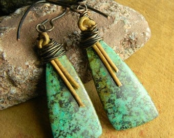 Southwestern Jewelry African Turquoise Earrings Leather Rustic Copper