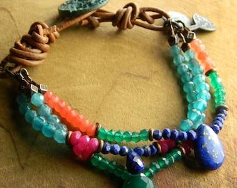 Gemstone Bracelet Lapis Lazuli Green Pink Orange Rustic Southwestern Jewelry