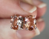 RESERVED FOR APOY Just Peachy -  Morganite Faceted Oval Cut Sterling Silver Stud Earrings