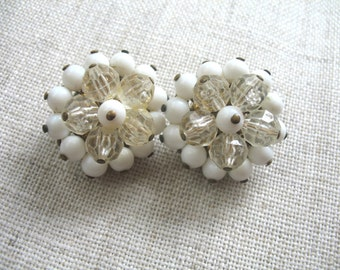 Vintage Cluster Earrings ~ Clip On ~ White & Crystal Plastic Beads Beads