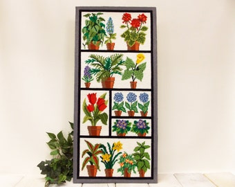 Large Vintage Flower Needlepoint---Meredith Gladstone 1974 Design--- Potted Plants in a Window Box Display