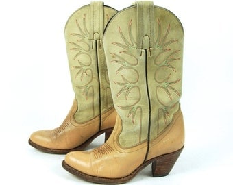 1980's Frye Boots, Camel and Tan, Women's Size 7 B