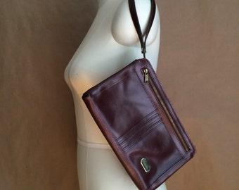 vintage 1970's oxblood leather clutch / handbag / purse / tote / wristlet / boho hippie