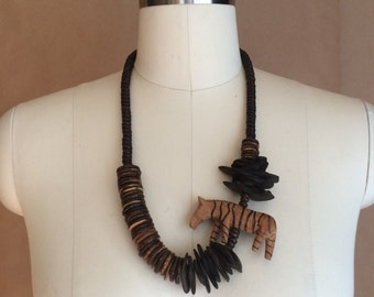 vintage 1980's wooden necklace / wood jewelry / zebra pendant / safari / tribal / womens necklace / wood beads