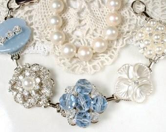 Powder Blue Bridal Bracelet, Ivory Pearl Rhinestone Vintage Cluster Earring Bracelet OOAK Dusty Blue Bridesmaid Gift Shabby Chic Wedding