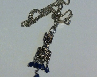 Vintage Lapis Lazuli Indian Silver Necklace
