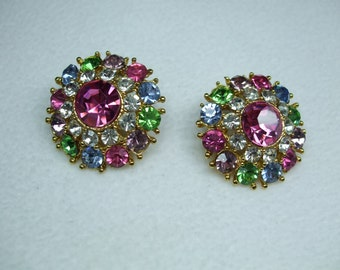 Vintage  Rhinestone Stunning Mutlti Color Pierced Earrings