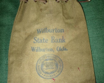 Vintage Bank Money Coin Bag Sack Wilburton State Oklahoma
