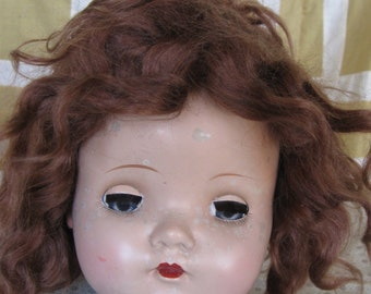 Vintage Large Worn Baby Doll Head Doll Parts Sleep Eyes Madame Alexander