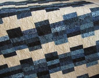Handmade Quilt, Batik Quilt, Homemade Quilt, Patchwork Quilt, Lap Quilt, Blue Quilt, Home Decor, Sofa Quilt, Quilted Throw