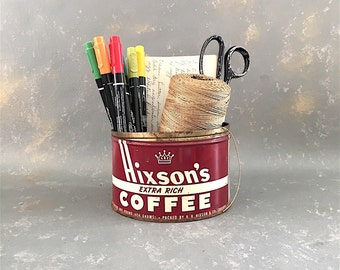 Vintage Coffee Can, Hixon's, Dark Red, advertising, 1 lb,  one pound