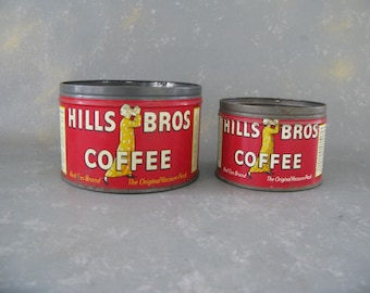 Vintage Coffee Can, half pound, Small, Hills Bros, ONE