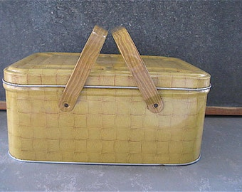 Vintage Metal Hamper Basket, picnic, kitchen storage, gold, tan, basket weave, glamiping, camper decor