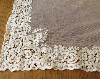 RESERVED FOR BONNIE.........Vintage Curtain Lace, Netting, Panels, Ivory, cream