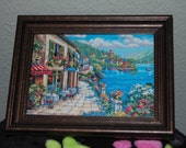 "SEASIDE BRISTRO - ""Completed and Framed Cross Stitch"""