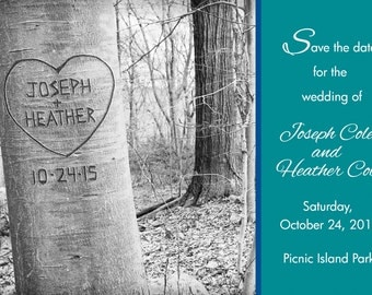 Custom Save the Date Printable Photo Card- Your Names and Wedding Date Carved in the Tree- Custom Colors, Custom Font