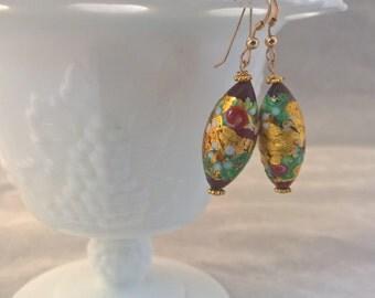 Gold Venetian Glass Earrings