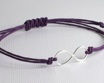 Sterling Silver Infinity Waxed Cotton Cord Bracelet/Anklet/Ankle, Adjustable, 18 Colors-Purple,Red,Black,Brown,Turquoise Blue,Maroon,...