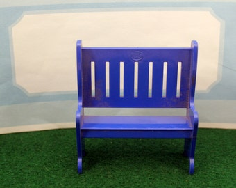 Blue Park Patio Bench Toy Dollhouse Plastic Furniture Ideal 1985