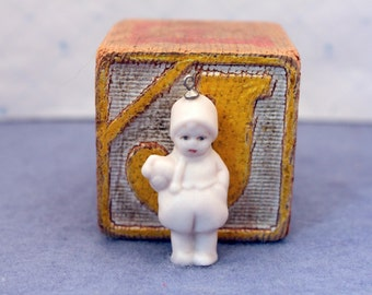 Vintage Miniature Bisque Doll Necklace Pendant for Silver Chain Hand Painted