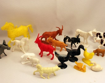 Toy Miniature Farm Animals 1950s Assorted Plastic Vinyl Barnyard Diorama