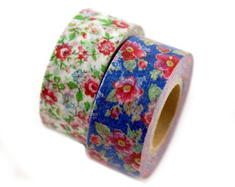 MASTE vintage floral masking tape set - set of 2 tapes with red cottage flowers on blue and white - Japanese washi tape