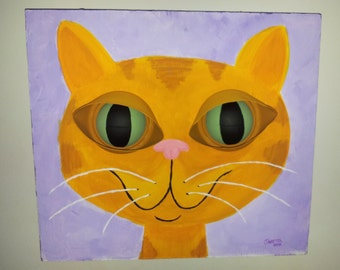 """Big-Eyed Orange Cat Painting """"Only Have Eyes For Tuna"""" Original Artwork by jettabees Recycled Cans Upcycled Art"""