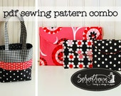 2 patterns 1 price - Easy Wallet & Patchwork Tote - Pdf sewing pattern - INSTANT DOWNLOAD