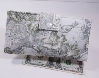 French Toile Wallet, Bifold Clutch Wallet, Sage Green, Cream, Made in USA