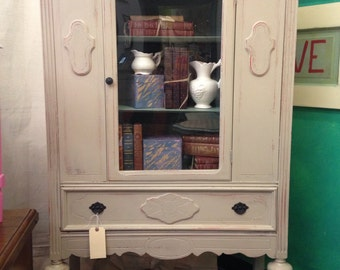 Hand painfted Vintage Shabby Chic Country Grey and Blue Green Cabinet
