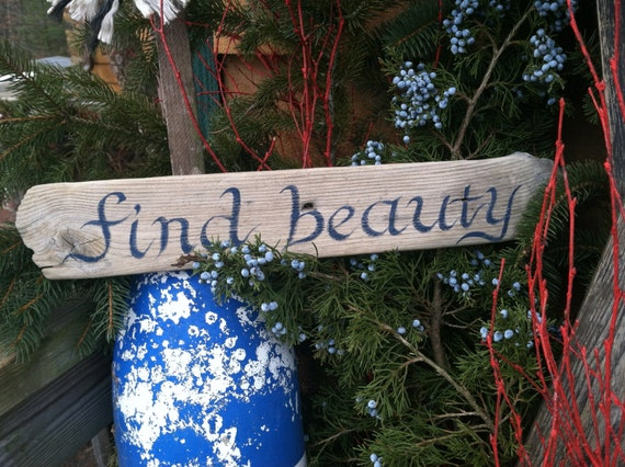 Hand Painted Rustic Driftwood Find Beauty By MaineCoastCottage