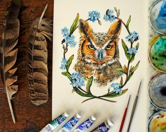 Great Horned Owl with Forget-Me-Nots - Original Watercolour