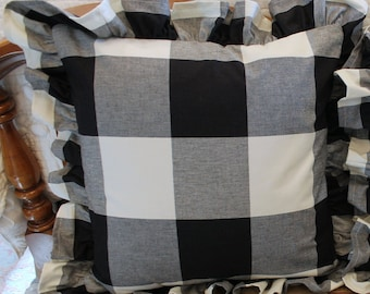 """P Kaufmann Large Buffalo Check Pillow Cover with a 2 1/2"""" Ruffle Available in Several Colors"""