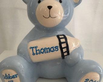Personalized Large Blue Bear Piggy Newborn, 1St Birthday Boy,Baby Shower Gift Centerpiece