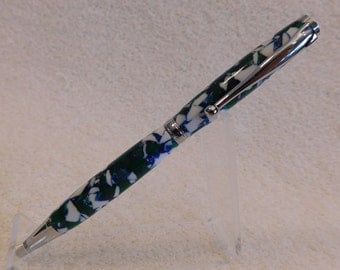Handmade Green, Blue, & White Crushed Acrylic Slimline Pen with Chrome Hardware, Handcrafted, colorful and thin pen, unique ink pen, 304