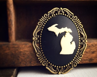 Michigan Cameo Brooch / Black and Ivory Antique Brass Bronze / Pirate Style Steampunk / Michigan Lover Gift