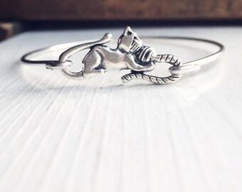 Kitten Bangle Bracelet / Antique Silver Simple Gift for  Cat Lovers / Kittie Layering Jewelry Summer Festival Style / Boho Bohemian