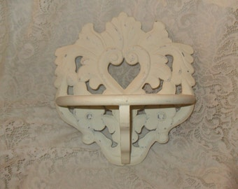 Distressed Shabby Cottage Chic Decor Victorian Antique Look  Wooden Carved Heart Floral Motif Accent Shelf With Scalloping