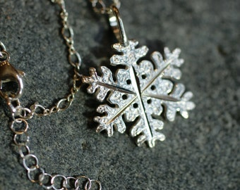 Sterling Silver Chain, Beautiful Sterling Silver Snowflake Pendant