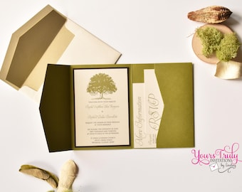 Sample - Grandfather Oak Tree Pocket Folder Wedding Invitation shown in Olive Green and Chocolate Brown Custom in your colors