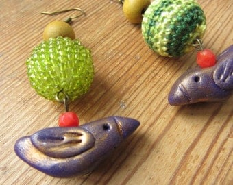 Mismatched Purple Bird Earrings, Upcycled Repurposed Jewelry, Rustic Clay Bird Earrings, Bird Jewelry, Dangle Earrings, Tribal Boho Earrings