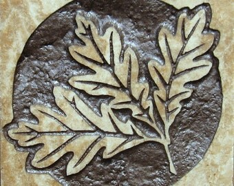White Oak Leaves - 4x4 Etched Travertine Stone Tile - SRA