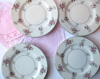 Vintage Japan China Rosemere Pink Gray Floral Bread & Butter/Dessert Plates Set of Four