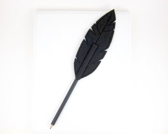 Feather Pencil Topper Halloween Raven Felt Feather, As Seen in Canadian Family Magazine