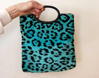 Faux Leopard Fur Handbag, Purse, Vintage 1970s Tote Bag, Jungle Animal Fabric, Aqua Blue, Black, Spring Accessory